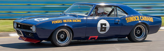 1968 Roger Penske Camaro Mark Donohue drove to the Trans-Am championship that year. The car is owned by Historic Trans-Am driver and organizer Tom McIntyre.