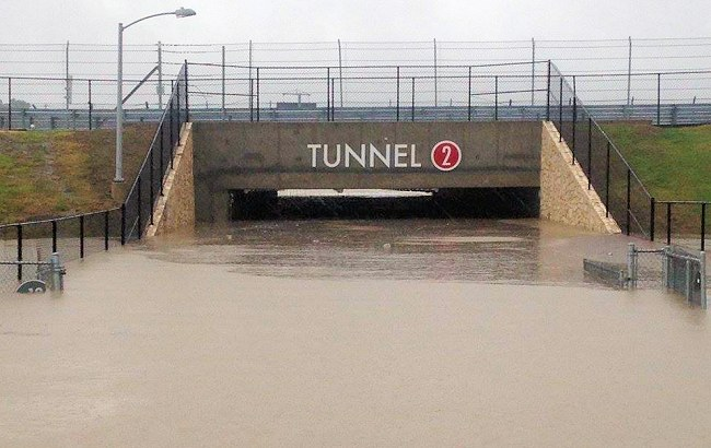 Tunnel 2 after strong storms wreaked havoc on racing enthusiasts in 2015.